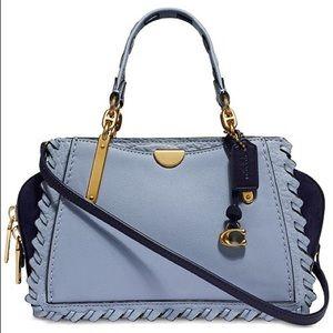 NWT Coach whipstitch blue satchel bag